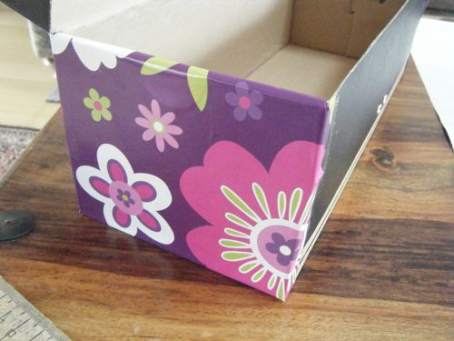 Partly wrapping paper covered box - decorative re-purposing project