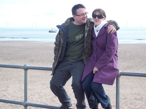 Amanda and Tim by the sea in Skegness