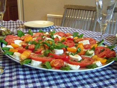 Fresh colourful tomato and mozzarella salad on a serving plate to share