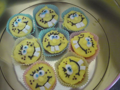 SpongeBob face birthday cupcakes