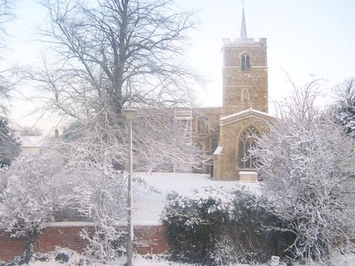 A pretty church in the snow