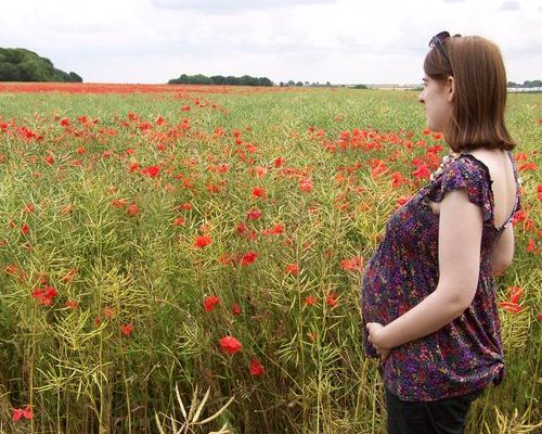 Amanda pregnant in a poppy field