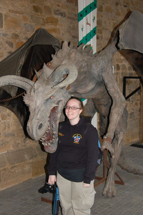 Dawn with a huge dragon statue model
