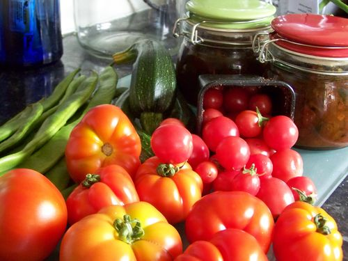 Homegrown vegetables and tomatoes
