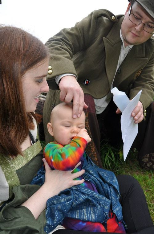 Blessing for Little Man in the Chalice Well Gardens - family photo
