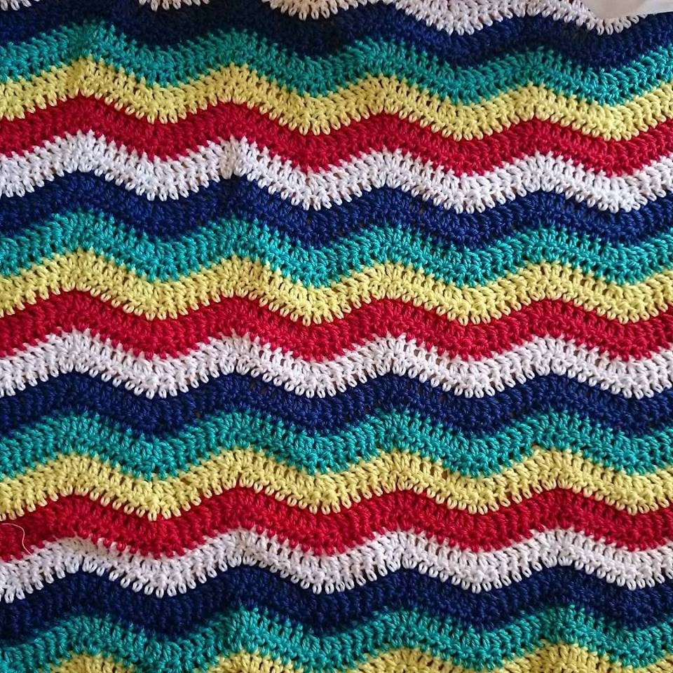 Crochet Baby Ripple Blanket Cotton Yarn