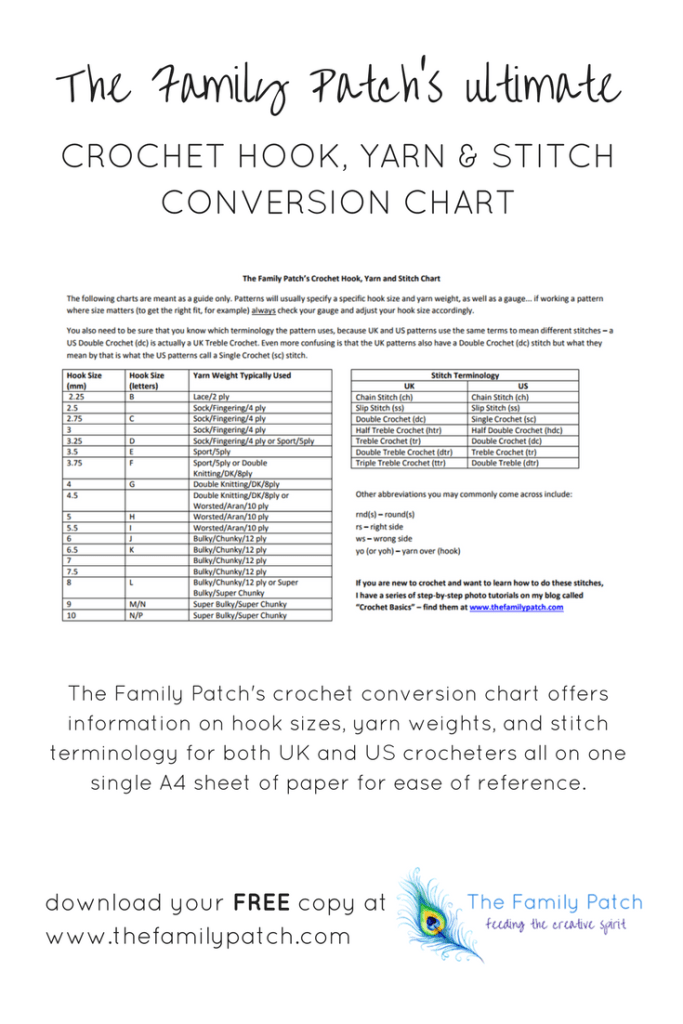 The Family Patch's Free Crochet Conversion Printable Chart