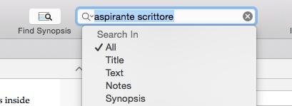 La ricerca in Scrivener