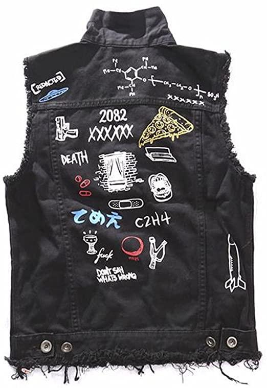 Men's Fashion Black Denim Biker Vests