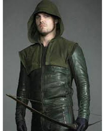 Stephen Amell Green Arrow Hooded Leather Jacket