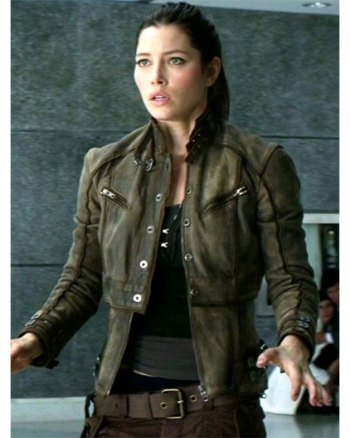 Elegant Jessica Biel Melina Total Recall Leather Jacket