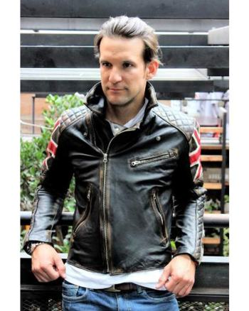 Vintage Mens Black Union Jack UK FLAG Cafe Racer Motorcycle Biker Leather Jacket