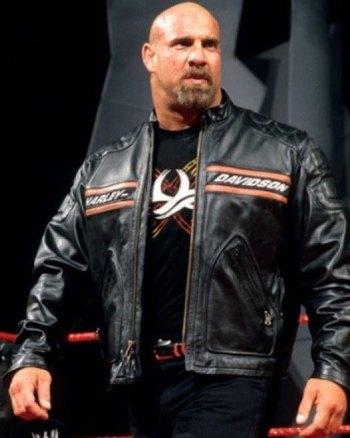 Bill Goldberg Black Harley Davidson Biker Leather Jacket