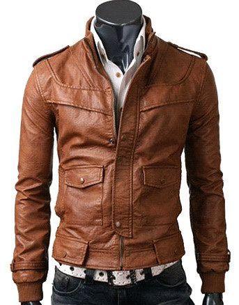 Strap Slim Light Brown Leather Jacket