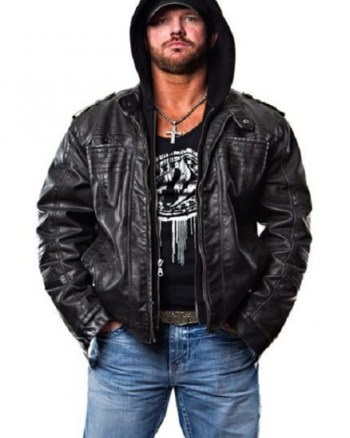 TNA AJ Styles Hooded Black Leather Jacket