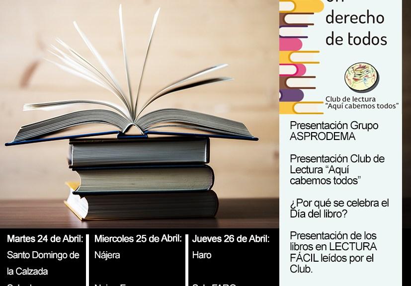 cartel anunciadors de las actividades por el día del libro, organizadas por ASPRODEMA