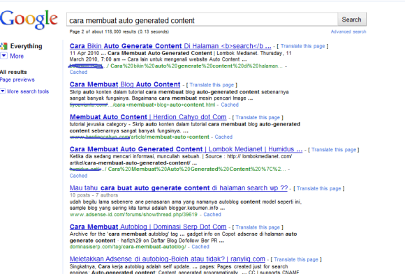 Hasil Pencarian Autogenerated Content
