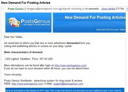 Email Job Baru dari Posts Genius