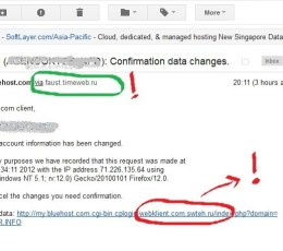 Email Phising atas nama Bluehost