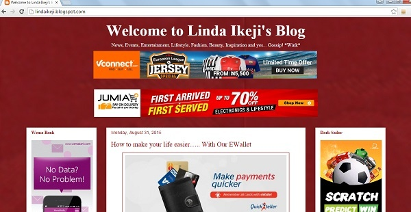 Screen Capture Blog Linda Ikeji di Blogspot