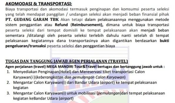 Akomodasi dan Transportasi Untuk Wawancara Kerja Palsu dari PT Gudang Garam