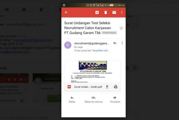 Email Panggilan WawancaraKerja yang Palsu dari PT Gudang Garam