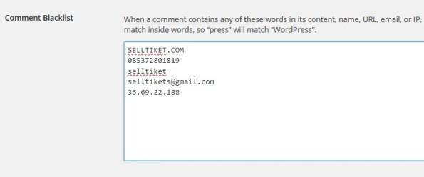 Fitur Comment Blacklist di WordPress Untuk Menangkal Komentar Spam
