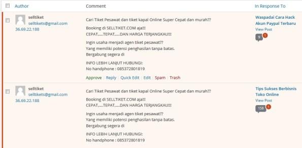 Komentar Spam dari Bisnis SellTiket.com