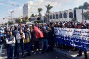 وقفة احتجاجية لعمال و عاملات الخدمات الأرضية بمطار محمد الخامس أمام مقر