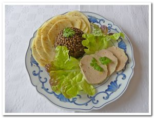 lentille noire et foie gras