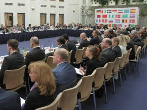 Picture of Delegates at table of ISO meeting