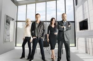 "Malin Akerman as Lara Axelrod, Damian Lewis as Bobby ""Axe"" Axelrod, Maggie Siff as Wendy Rhoades and Paul Giamatti as Chuck Rhoades in BILLIONS 