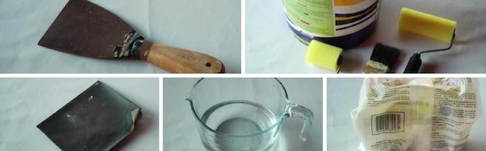 espátula, tinta, rolo, pincel.lixa,água,gesso
