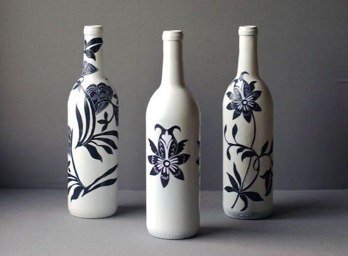 DIY 3 garrafas com desenhos decoupage