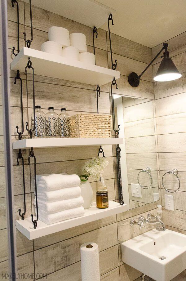 prateleiras banheiro com gancho