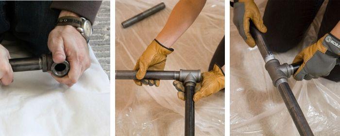 montagem de pé de mesa tubo galvanizado