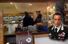 Luogo della rapina con foto capitano Marco Sivori