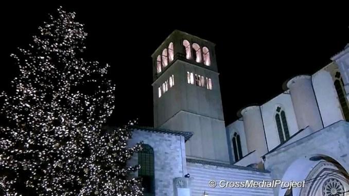 Assisi, Natività con macerie cattedrale di Norcia e Basilica San Benedetto