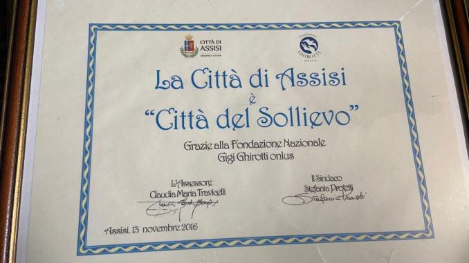 Assisi è stato il primo Comune umbro ad aderirealla Giornata nazionale del Sollievo
