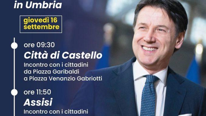 Giuseppe Conte ad Assisi il 16 settembre per sostenere i candidati del centrosinistra