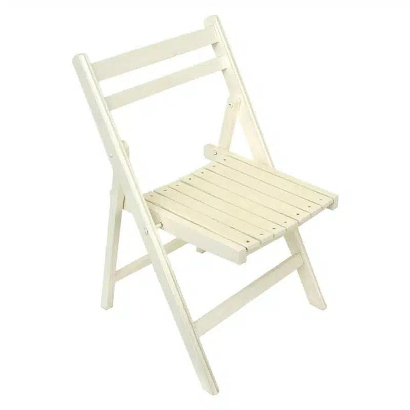 chaise jardin bois blanche pliante