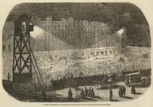 Travaux nocturnes des constructions de la rue de Rivoli, éclairés par la lumière électrique, L'Illustration 1854