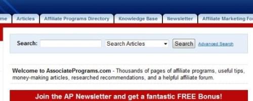 Associate Programs.com search engine tool