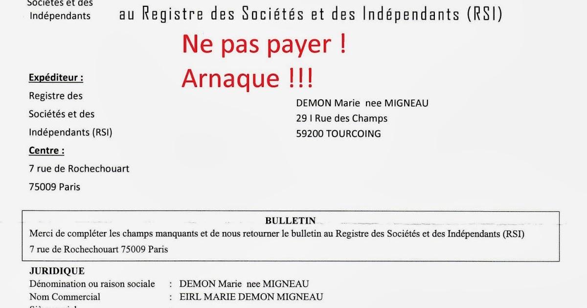 rsi registre sociétés indépendants arnaque
