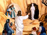 """Jesus raising Lazarus from the Dead. Is this symbolic when He returns and commands as He did with Lazarus (John 11:43) with """"Christians, Come forth""""."""