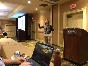 color photo of Mary Thirn presenting her talk at CAST 2017