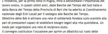 """Dal sito Modugno.it """"Convegno """"Banca del Tempo: una risposta solidale alla crisi economica e sociale?"""""""