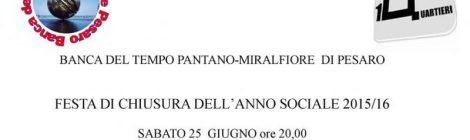 """BdT Pantano-Miralfiore di Pesaro presenta la """"Festa di chiusura dell'anno sociale 2015/16"""""""