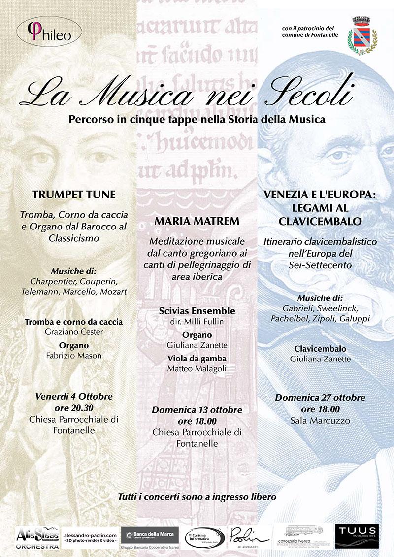 Programma percorso in cinque tappe nella Storia della Musica a Fontanelle Treviso