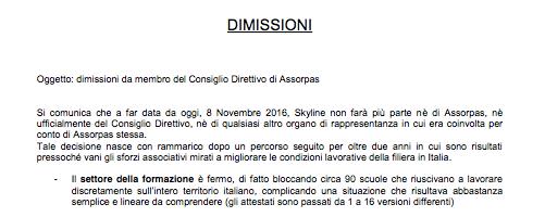 Skyline - Lettera di dimissioni